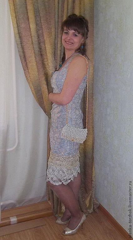 Платья ручной работы. Ярмарка Мастеров - ручная работа. Купить Вечернее платье из парчи с отделкой из кружева Моя Муза. Handmade.