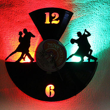 For home and interior handmade. Livemaster - original item Wall clock with led light from the album the Dance. Handmade.