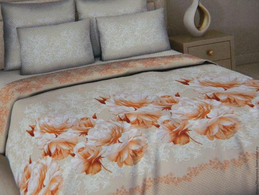 """Текстиль, ковры ручной работы. Ярмарка Мастеров - ручная работа. Купить Комплект постельного белья из поплина (перкаль)""""Чайная роза"""". Handmade."""