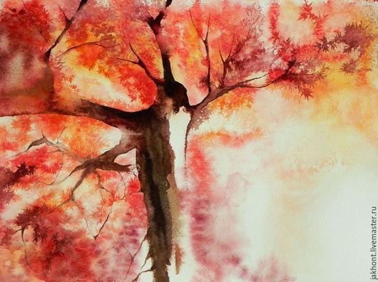 Пейзаж ручной работы. Ярмарка Мастеров - ручная работа. Купить Картина акварелью Он прекрасен. Handmade. Клен, осень