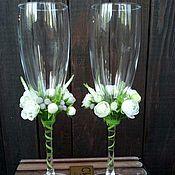 Свадебный салон ручной работы. Ярмарка Мастеров - ручная работа Свадебные бокалы с декором из холодного фарфора. Handmade.