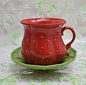 """Посуда ручной работы. Ярмарка Мастеров - ручная работа Чайная пара """"Клубничка"""" красная. Handmade."""