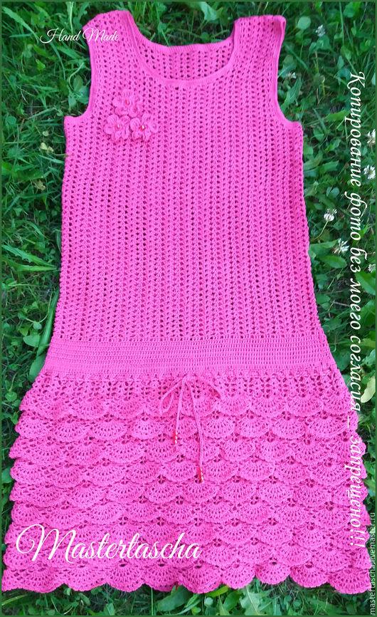 Одежда для девочек, ручной работы. Ярмарка Мастеров - ручная работа. Купить Летний сарафан для девочки крючком. Handmade. Фуксия, абстрактный