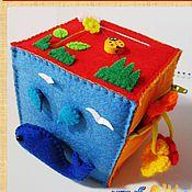 """Куклы и игрушки ручной работы. Ярмарка Мастеров - ручная работа Кубик Развивающий № 4  """"Учимся, играя!"""" (из фетра). Handmade."""