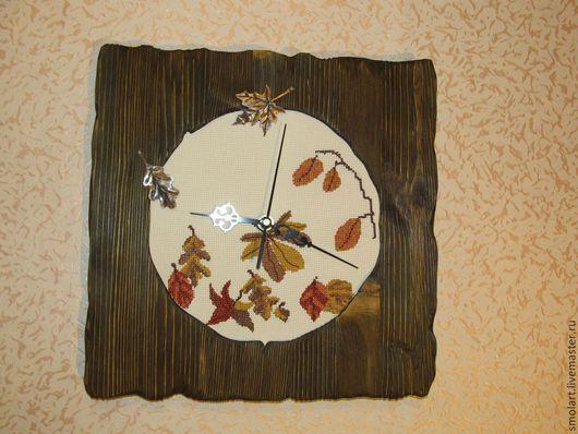 Часы для дома ручной работы. Ярмарка Мастеров - ручная работа. Купить Часы Осенние мотивы. Handmade. Коричневый, дерево, дерево