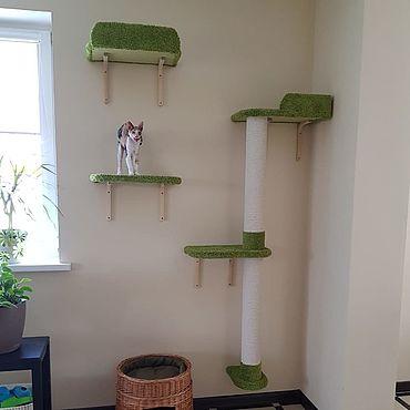 Товары для питомцев ручной работы. Ярмарка Мастеров - ручная работа Настенный домик для кошек купить. Заказать в размер. Handmade.