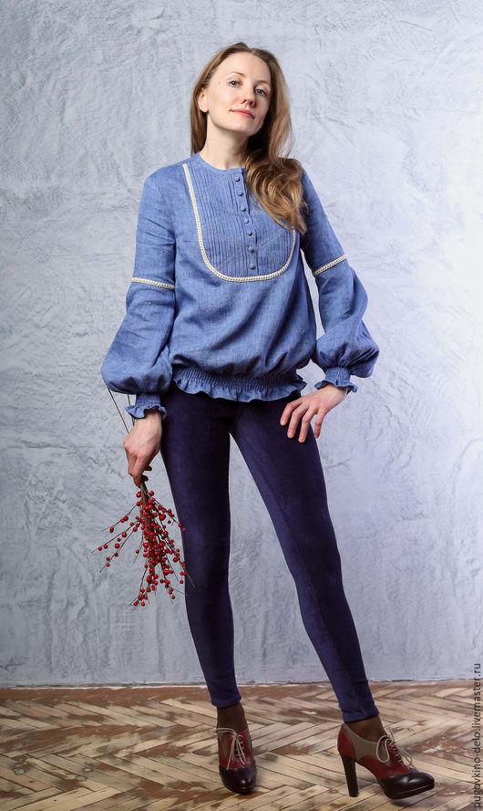 Блузки ручной работы. Ярмарка Мастеров - ручная работа. Купить Льняная блуза со вставкой на груди и резинкой по низу. Handmade.