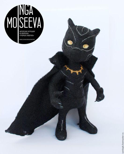Человечки ручной работы. Ярмарка Мастеров - ручная работа. Купить Черная Пантера, войлочная кукла.. Handmade. Черный, войлочная игрушка