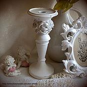 """Для дома и интерьера ручной работы. Ярмарка Мастеров - ручная работа Подсвечник """"Белые розы"""". Handmade."""