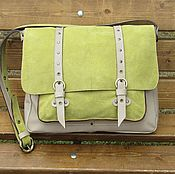 Сумки и аксессуары handmade. Livemaster - original item Messenger bag women`s leather SILVA olive color. Handmade.