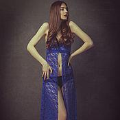 Одежда ручной работы. Ярмарка Мастеров - ручная работа BF60 Ночная сорочка в пол Синий электрик. Handmade.