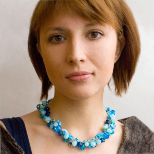 """Колье, бусы ручной работы. Ярмарка Мастеров - ручная работа. Купить Ожерелье """"Февральское небо"""". Handmade. Ожерелье, голубой, бусы"""