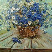 Картины и панно handmade. Livemaster - original item Oil painting Bouquet of cornflowers in a basket. Handmade.