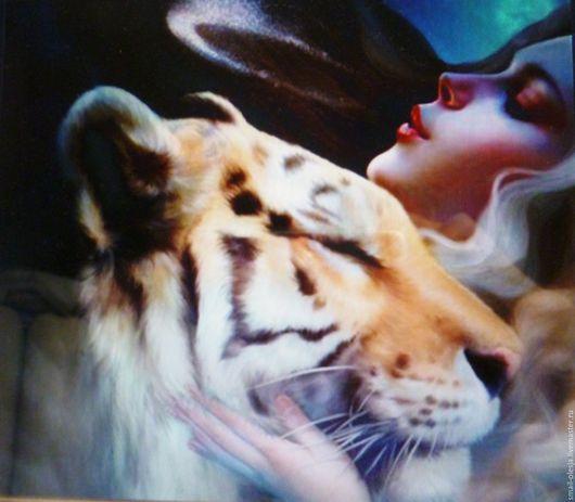 Люди, ручной работы. Ярмарка Мастеров - ручная работа. Купить Девушка и тигр.На заказ.. Handmade. Картина в подарок, стразы