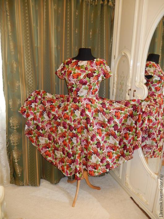 Платья ручной работы. Ярмарка Мастеров - ручная работа. Купить Платье на лето.Пионы. Handmade. Белый, платье коктейльное