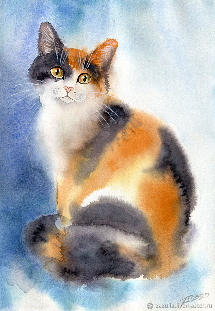 Watercolor 'three-colored cat', Pictures, Penza,  Фото №1