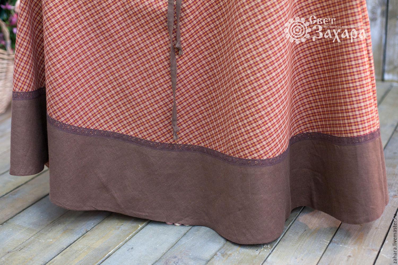 Платья ручной работы. Ярмарка Мастеров - ручная работа. Купить Юбка клетка полусолнце на трикотажной кокетке. Handmade. Русский стиль