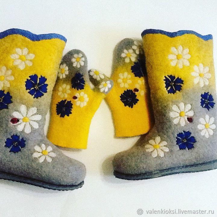 Boots and mittens women's ' Vasiliki, chamomile', Felt boots, Volgodonsk,  Фото №1