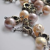 Украшения handmade. Livemaster - original item Pearls Kasumi. Sunrise chain necklace (silver with black). Handmade.