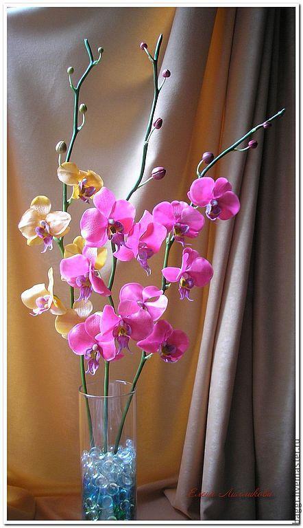 Цветы ручной работы. Ярмарка Мастеров - ручная работа. Купить Ветка орхидеи фаленопсис. Handmade. Фуксия, цветочная композиция