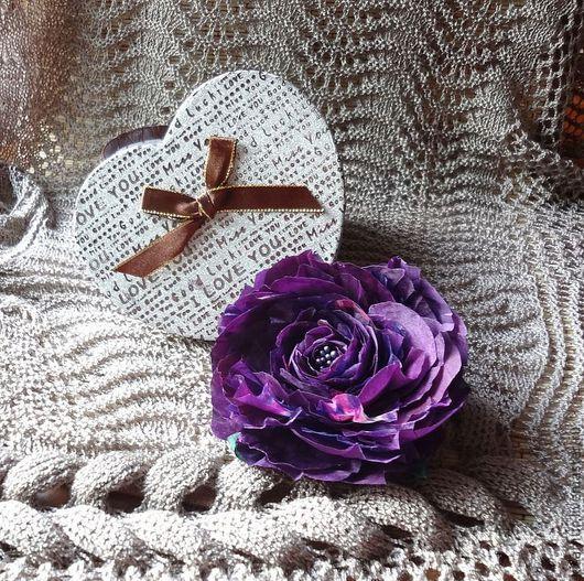 Броши ручной работы. Ярмарка Мастеров - ручная работа. Купить Брошь заколка Цветок Розы натуральный шелк, крупная брошь. Handmade.