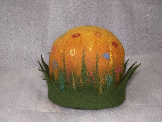 """Банные принадлежности ручной работы. Ярмарка Мастеров - ручная работа. Купить Банная шапка """"Полянка"""". Handmade. Банная шапка, войлок"""