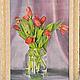 """Картины цветов ручной работы. Ярмарка Мастеров - ручная работа. Купить Картина маслом """"Букет тюльпанов"""". Handmade. Ярко-красный"""