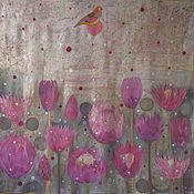 Аксессуары ручной работы. Ярмарка Мастеров - ручная работа Шелковый платок батик Птица и цветы. Handmade.