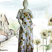 Одежда ручной работы. Ярмарка Мастеров - ручная работа Платье с подсолнухами из шитья Dolce Gabbana. Handmade.