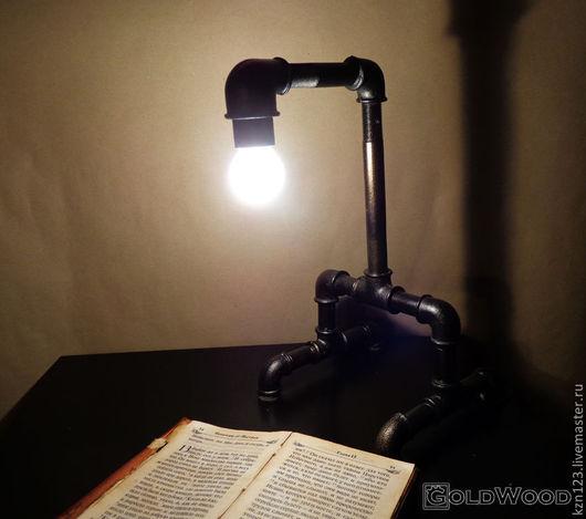 """Освещение ручной работы. Ярмарка Мастеров - ручная работа. Купить Стимпанк лампа """"Монолит"""". Handmade. Черный, из водопроводных труб, офис"""