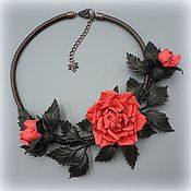 Украшения handmade. Livemaster - original item CORAL ROSE necklace made of genuine leather. Handmade.