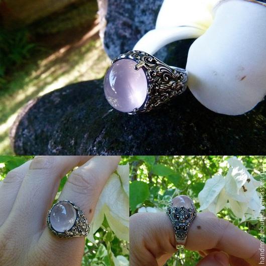 Кольца ручной работы. Ярмарка Мастеров - ручная работа. Купить Кольцо Изящество с розовым кварцем из серебра 925. Handmade.