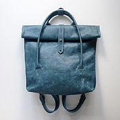 Сумки и аксессуары ручной работы. Ярмарка Мастеров - ручная работа Кожаный рюкзак-сумка Rolltop Ocean. Handmade.
