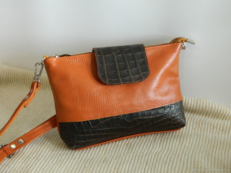 07f7a31ffc Leather bag.Crossbody bag. Brown clutch with crocodile – shop online on  Livemaster with shipping - ISER9COM | Krasnodar