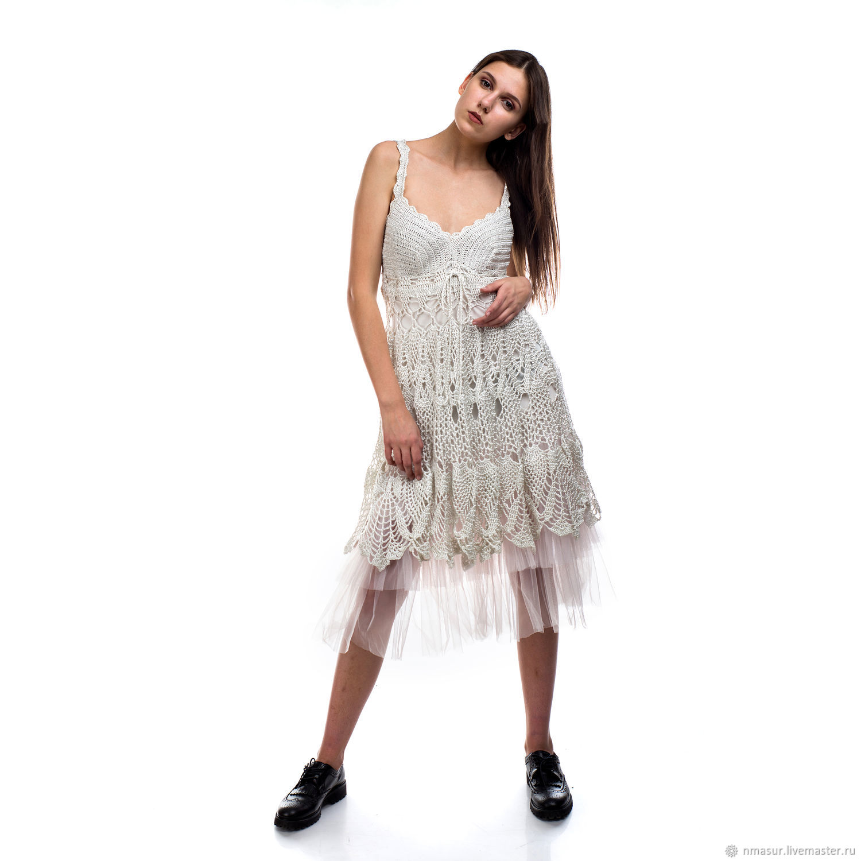 Вязаное платье сарафан крючком вискоза с пышной юбкой – купить в интернет- магазине на Ярмарке 37ef250de08