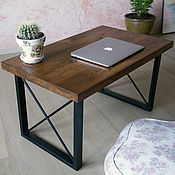 Для дома и интерьера handmade. Livemaster - original item Table made of solid oak and metal in loft style. Handmade.
