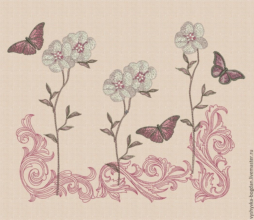 Machine embroidery designs set `Vintage Sakura Sketch` bt185, bt186. The size of the hoop 300 x 180 mm; 180 x 130 mm. Formats: exp dst pes hus jef vip vp3 xxx
