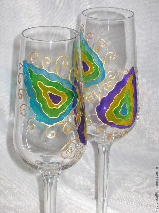 """Бокалы, стаканы ручной работы. Ярмарка Мастеров - ручная работа. Купить Бокалы """"Перо павлина"""". Handmade. Бокалы, подарок"""