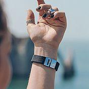 Украшения handmade. Livemaster - original item Black leather bracelet with insert and cast steel locks. Handmade.