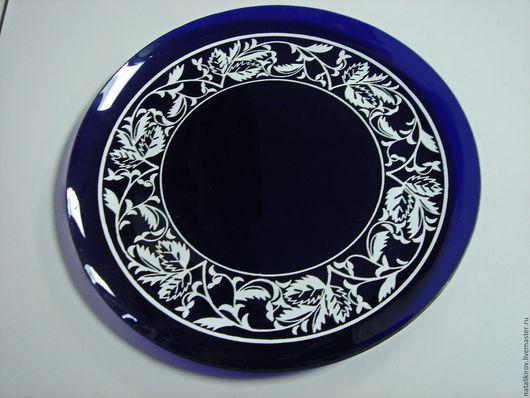 Винтажная посуда. Ярмарка Мастеров - ручная работа. Купить Интересное стеклянное блюдо. Винтаж.. Handmade. Тёмно-синий, поднос, подарок