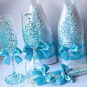 Свадебный салон ручной работы. Ярмарка Мастеров - ручная работа Голубое кружево - набор аксессуаров на свадьбу. Handmade.
