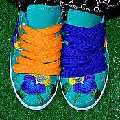 Обувь ручной работы. Ярмарка Мастеров - ручная работа кеды женские бирюза. Handmade.