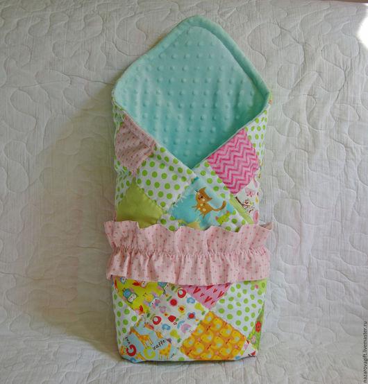 Для новорожденных, ручной работы. Ярмарка Мастеров - ручная работа. Купить Одеяло конверт на выписку для девочки. Handmade. Лоскутное одеяло