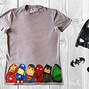 """Одежда ручной работы. Ярмарка Мастеров - ручная работа Футболка """"Супергерои"""" ручная роспись. Handmade."""