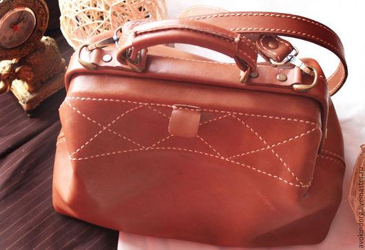 Женские сумки ручной работы. Ярмарка Мастеров - ручная работа. Купить Саквояж из натуральной кожи. Handmade. Рыжий, саквояж кожа