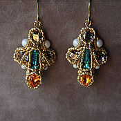 Украшения handmade. Livemaster - original item Antique dangle cross earrings Rhinestone Swarovski beadwork. Handmade.