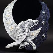 """Украшения ручной работы. Ярмарка Мастеров - ручная работа Колье """"Бегущие к звездам"""" в бело-синей гамме. Handmade."""