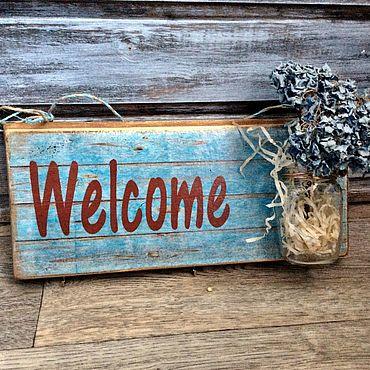Для дома и интерьера ручной работы. Ярмарка Мастеров - ручная работа Добро пожаловать,Велком,welcome,табличка на дверь,ключница,вешалка. Handmade.