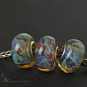 Украшения ручной работы. Ярмарка Мастеров - ручная работа шармы Лунный свет лэмпворк серебро 925 муранское стекло. Handmade.