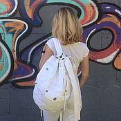 Сумки и аксессуары handmade. Livemaster - original item Denim Pocket White backpack. Handmade.